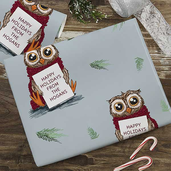 Holiday Owl Personalized Wrapping Paper - 22672