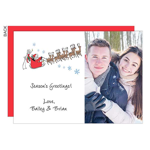 Santa and Reindeer Photo Holiday Cards - 22682