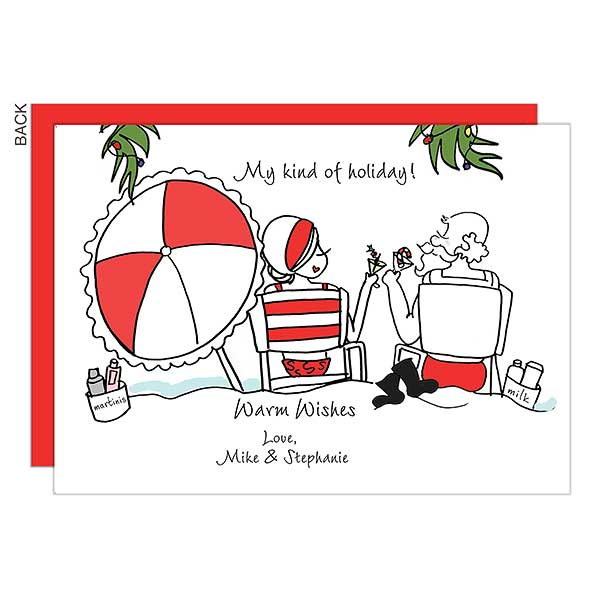 Warm Wishes Beach Personalized Holiday Cards - 22687