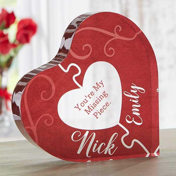 Missing Piece Personalized Romantic Heart Keepsake Gift - 22695