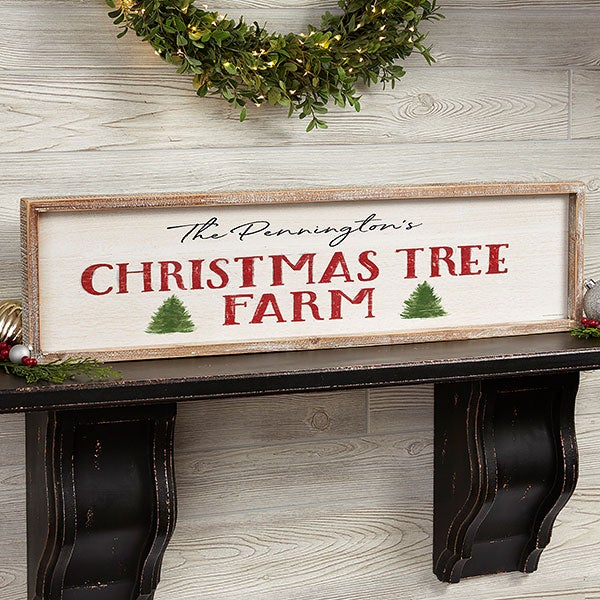 Christmas Tree Farm Personalized Barnwood Frame Wall Art - 22698