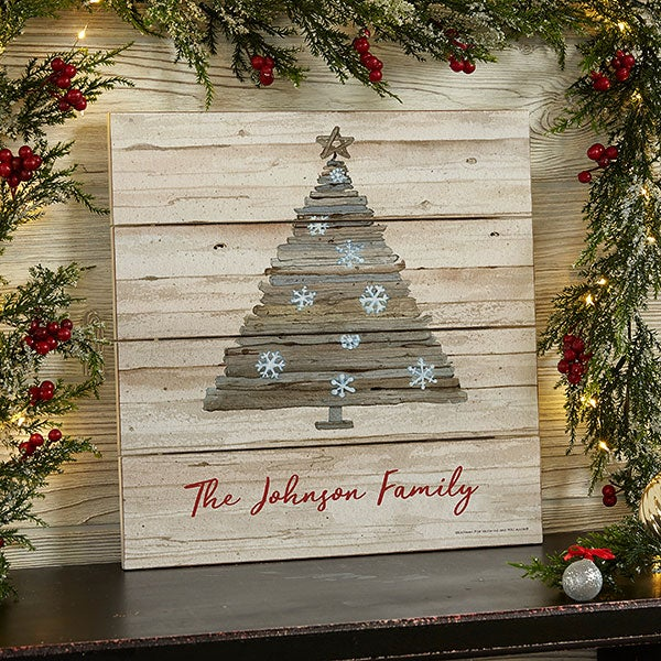 Rustic Holiday Personalized Wooden Shiplap Signs - 22727