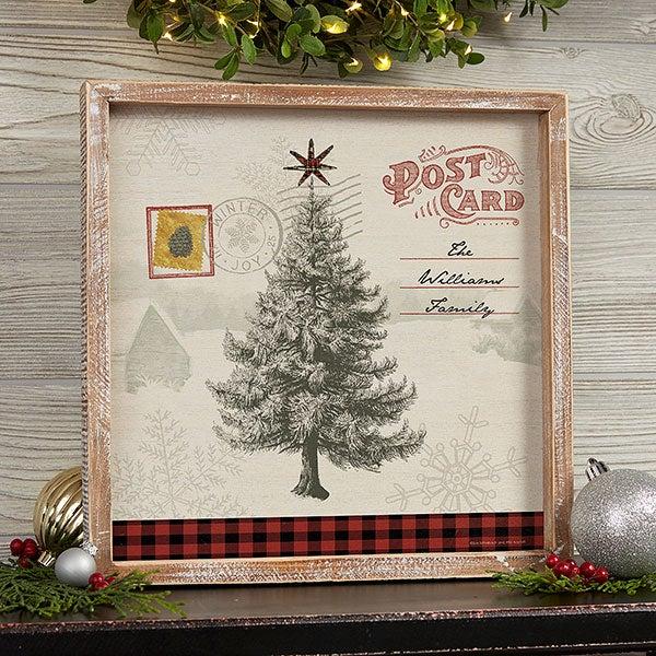 Postcard Christmas Tree Personalized Barnwood Wall Art - 22729