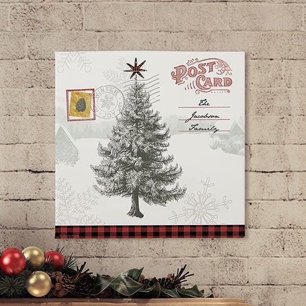 Postcard Christmas Tree Personalized Canvas Prints - 22730