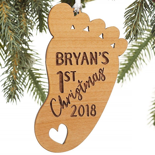 Personalized First Christmas Baby Footprint Ornaments - 22740