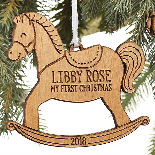 My 1st Christmas Rocking Horse Personalized Baby Ornament  - 22741