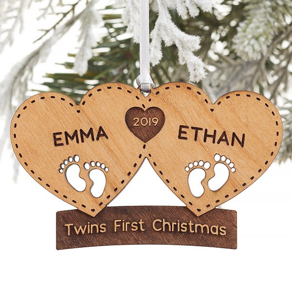 Twins First Christmas Ornament 2019 Personalized Twins First Christmas Ornament   Twin Arrival