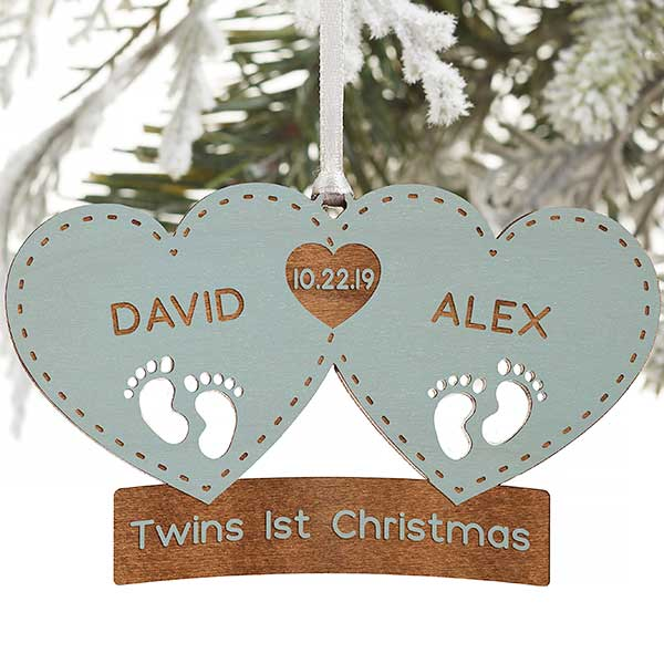 Personalized Christmas Gifts.Twin Arrival Personalized Blue Wood Christmas Ornament