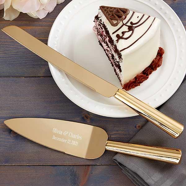 Personalize Gold Cake Serving Set Gold Cake Server Set Wedding Cake Serving Set