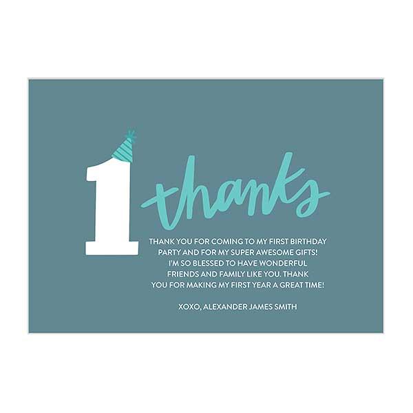 1st Birthday Milestones Premium Thank You Cards
