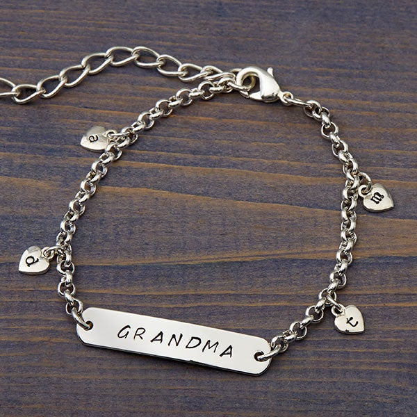 1be9fa021 Personalized Charm Bracelet with 4 Stamped Hearts - For Her