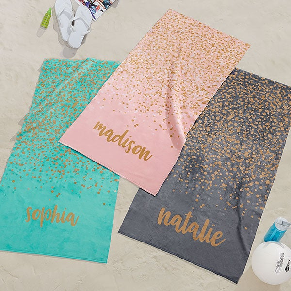 Personalized Beach Towels Sparkling Name