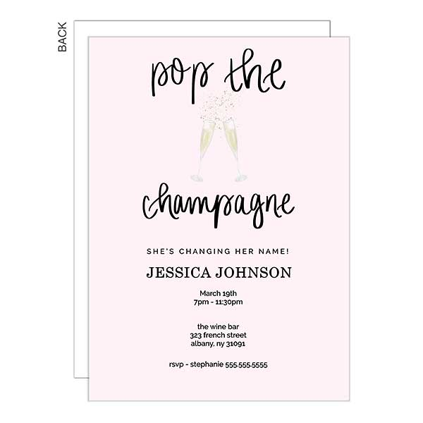 Pop The Champagne Party Invitation