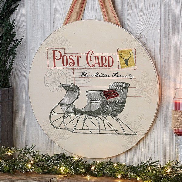 Postcard Christmas Sleigh Personalized Wood Round Sign - 22832