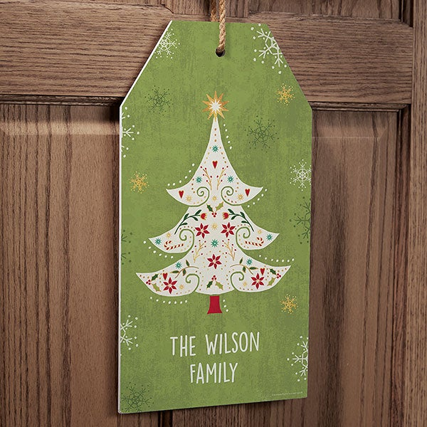 Whimsical Christmas Personalized Wall Tag Wooden Signs - 22833