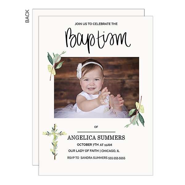 Baptism Botanical Cross Personalized Photo Invitations - 22838