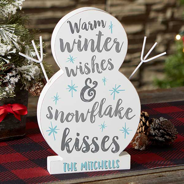 Winter Wishes Snowflake Kisses Large Wood Snowman