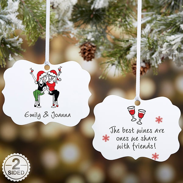 Best Friend Wine Lover Personalized Ornament - 22857