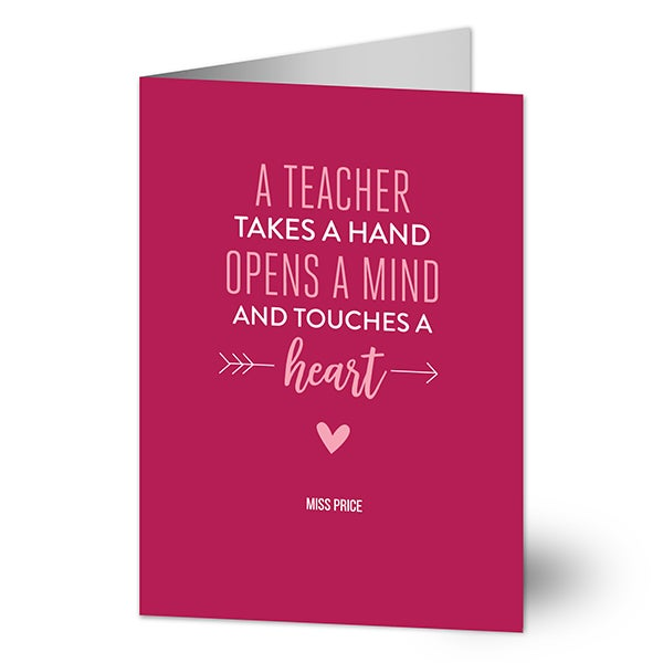 A Teacher Takes A Hand Personalized Greeting Cards - 22895