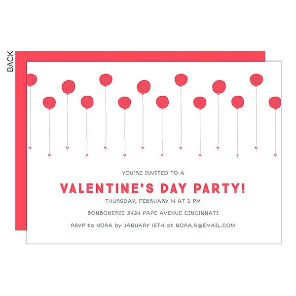 Valentine S Day Balloons Personalized Party Invitations 22924