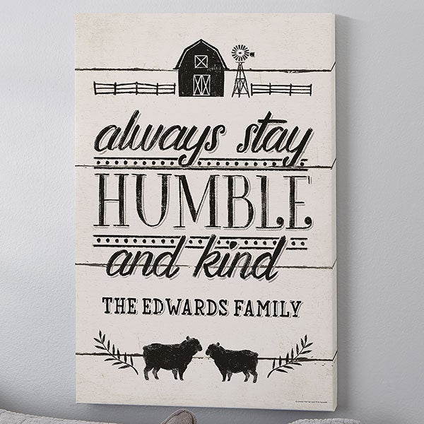 Always Stay Humble & Kind Farmhouse Personalized Canvas Print - 22978