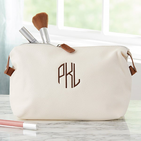 Personalized Leather Cosmetic Bags - Monogram, Name, Initial - 22982