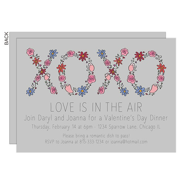 Floral XOXO Valentine's Day Party Invitations - 23030