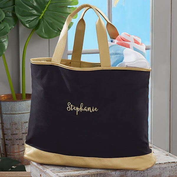 3e9e7cd4ac Black   Gold Custom Embroidered Travel Tote Bag