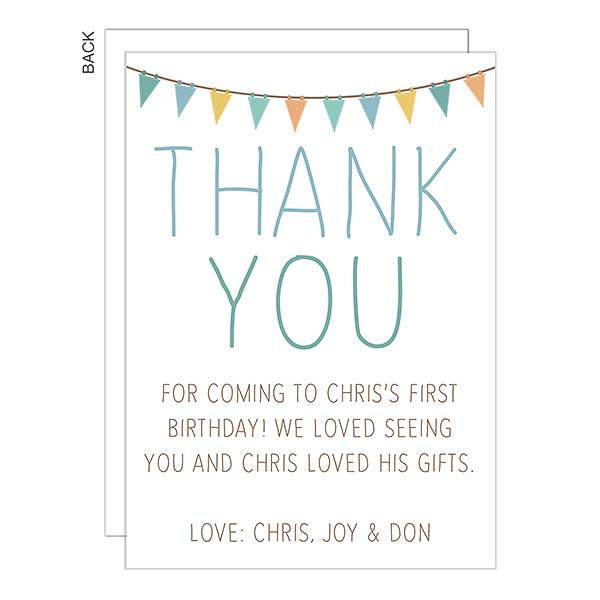 First Birthday Banner Thank You Cards