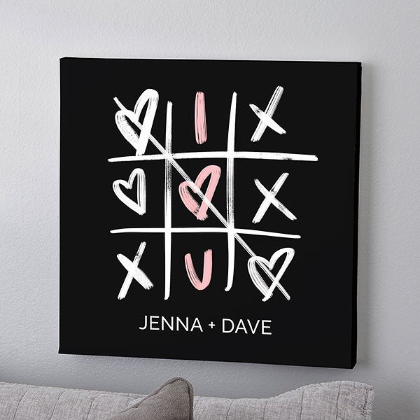 Romantic Tic-Tac-Toe Hearts Personalized Canvas Prints - 23147