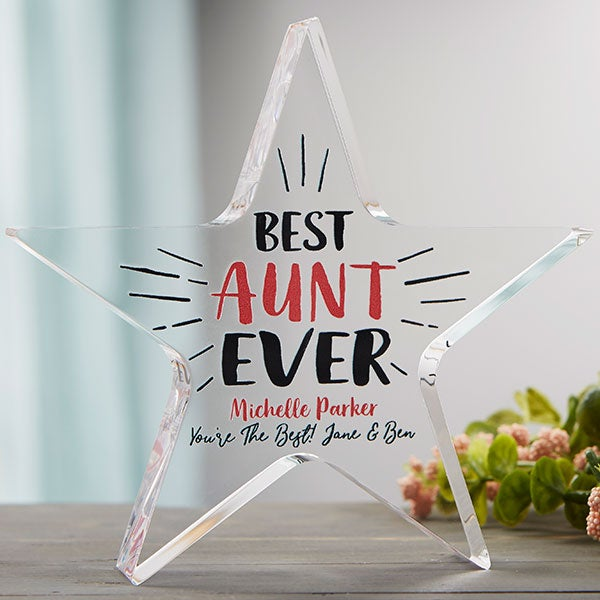 Best Aunt Ever Personalized Colored Star Award