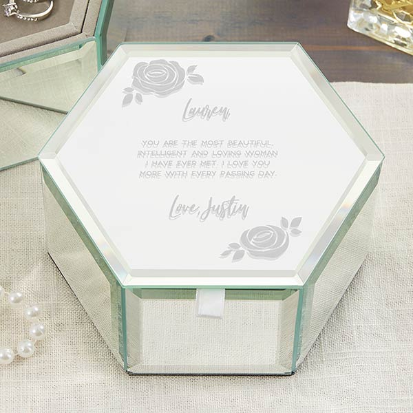 Romantic Floral Personalized Hexagon Jewelry Box