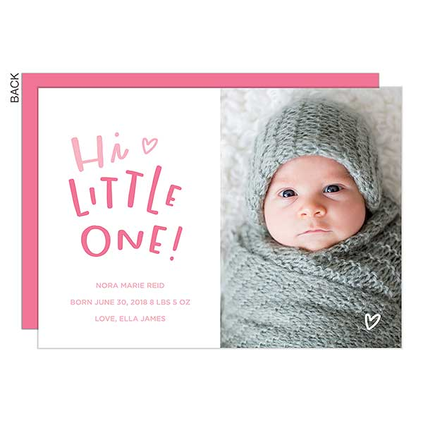 Hi Little One Custom Photo Baby Girl Birth Announcements - 23191