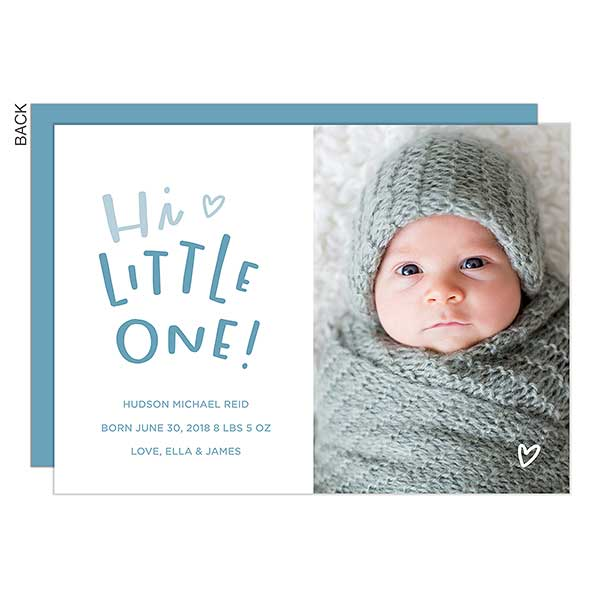 Hi Little One Custom Photo Baby Boy Birth Announcements - 23193