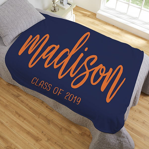 Personalized Graduation Blankets - Scripty Style Text - 23207
