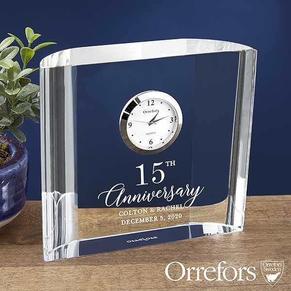Orrefors Engraved Crystal Anniversary Clock - 23238