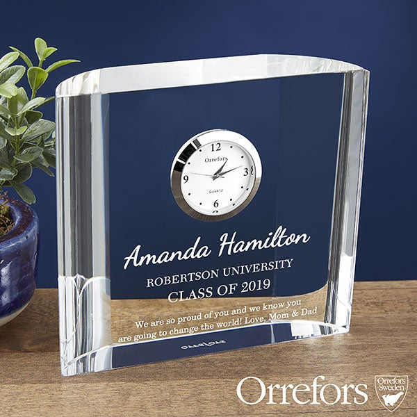 Orrefors Engraved Crystal Clock - Graduation Clock Gift - 23241