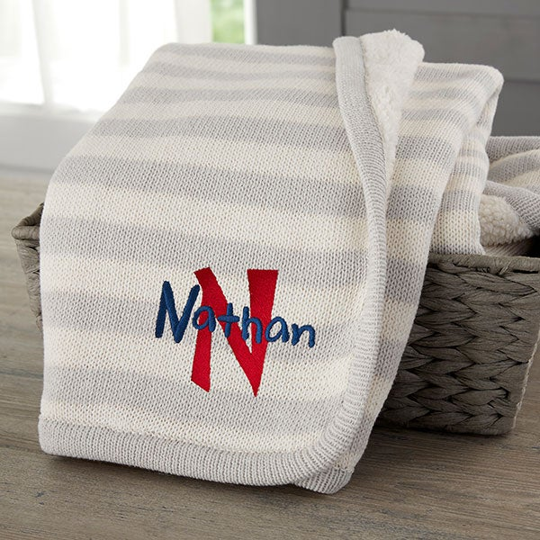 Personalized Knit Baby Blankets - Name & Initial - 23247