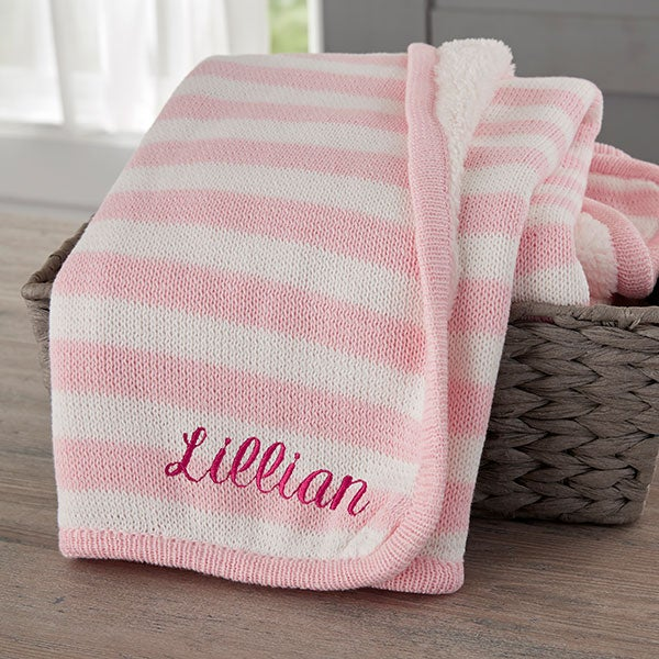 Custom Embroidered Pink Knit Baby Blanket Baby Gifts