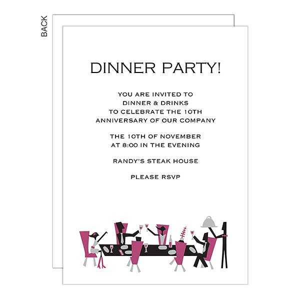 Dinner Party Personalized Invitations