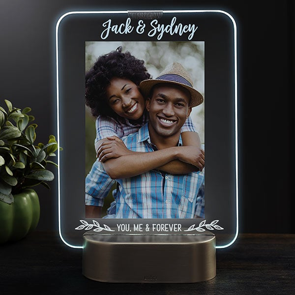 Romantic Couple Personalized Light Up Glass Led Picture Frame
