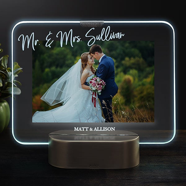 Led Picture Frames Personalized Light Up Glass Wedding Frame