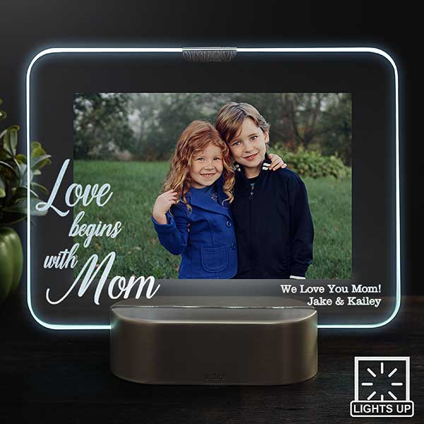 Personalized LED Picture Frame - Love Begins With Mom - 23323