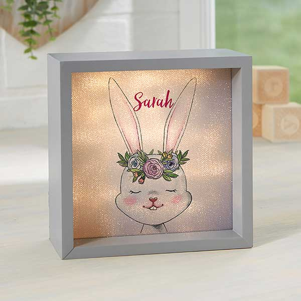 Personalized LED Shadow Box - Woodland Floral Bunny - 23338