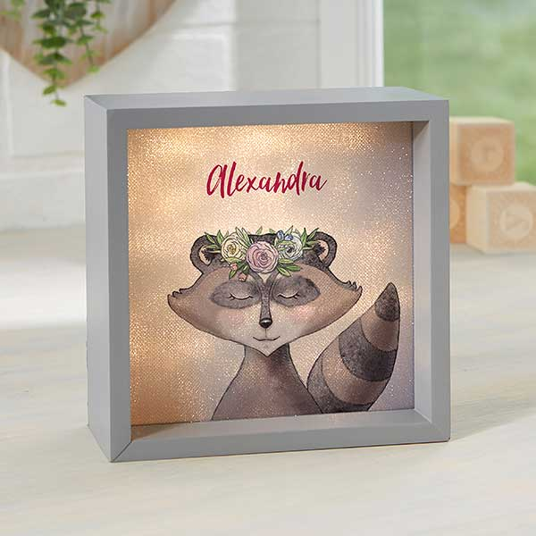 Personalized LED Shadow Box - Woodland Floral Raccoon - 23339
