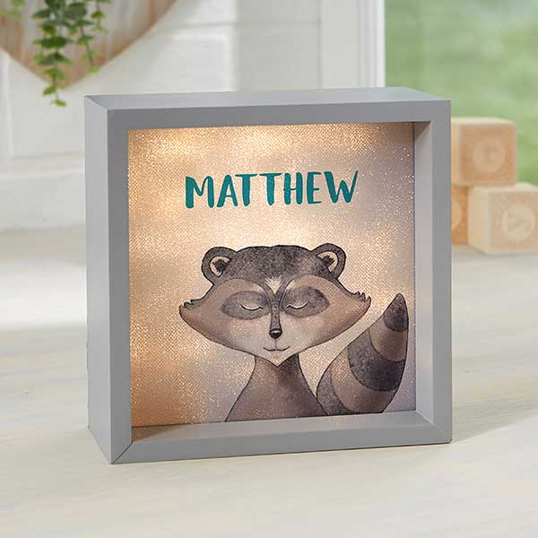 Personalized LED Shadow Box - Woodland Raccoon - 23349