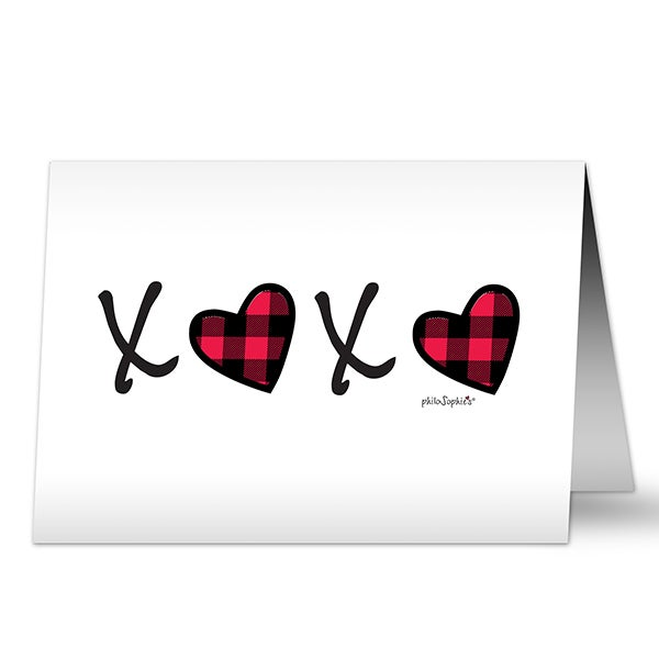 XoXo Plaid Heart Personalized Greeting Cards - 23421