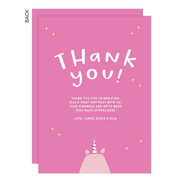 Unicorn Kids Thank You Cards