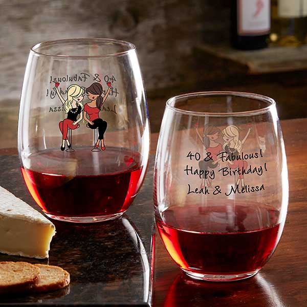 Birthday Wine Lover PhiloSophiesR Personalized Glasses