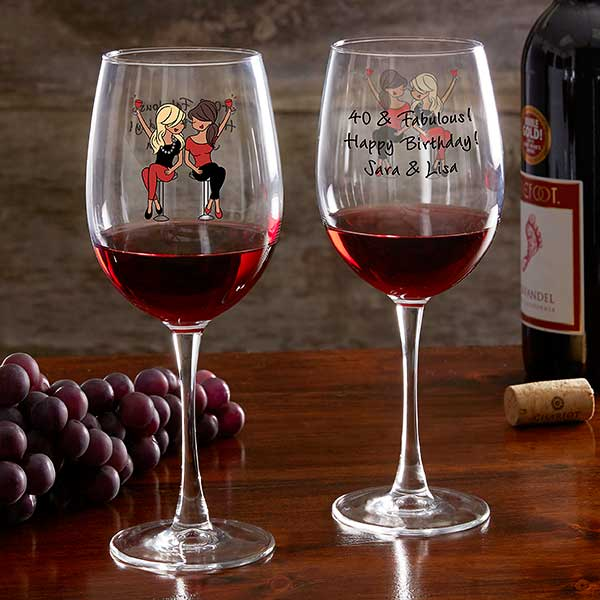 Birthday Wine Lover PhiloSophiesR Personalized Red Glass
